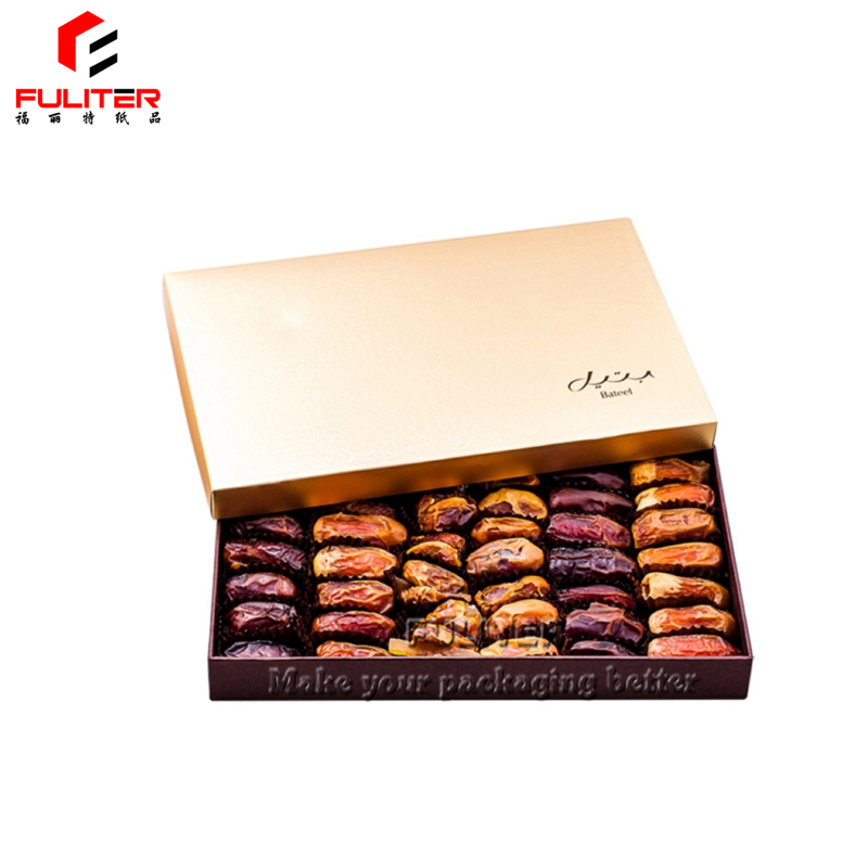 Large gold packaging food ramadan paper gift box for dates