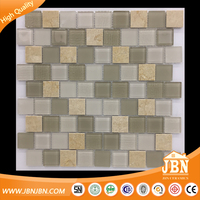 Beige Color Wall Tile Decoration Interlocking Glass Mosaic mix Stone (M430001)