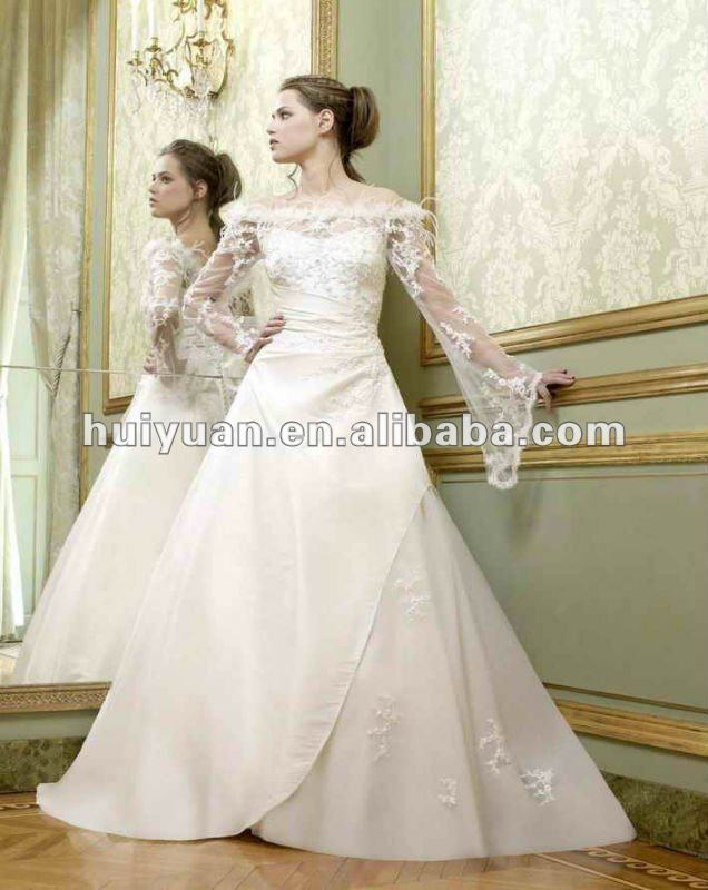 white satin lace bell sleeve wedding dresses