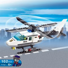 KAZI 102pcs Police Station Building Blocks Helicopter Model Blocks Early Educational Toys For Children brinquedos