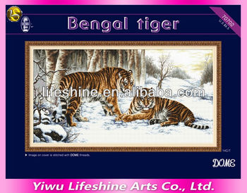 DIY embroidery cross-stitch aida fabric with bengal tiger pattern