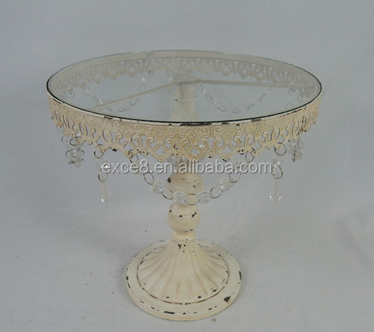 Antique metal stand decorative glass cake plate