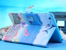 Factory handmade blue ocean style PU leather stand portfolio case for ipad mini 1 2 3