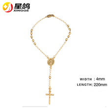 18K Gold Plated Circle Copper Beads Linked Bracelets Ornament Virgen Maria Picture Long Tassel Cross Bracelets For Christian