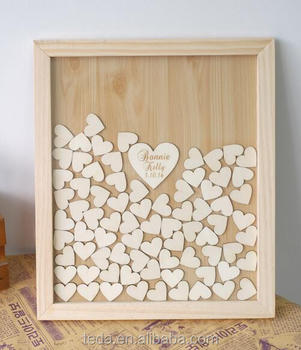 Personalised wood Heart Guest book Drop box Signature book wedding decoration