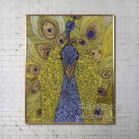 Abstract Original Peacock Oil Painting