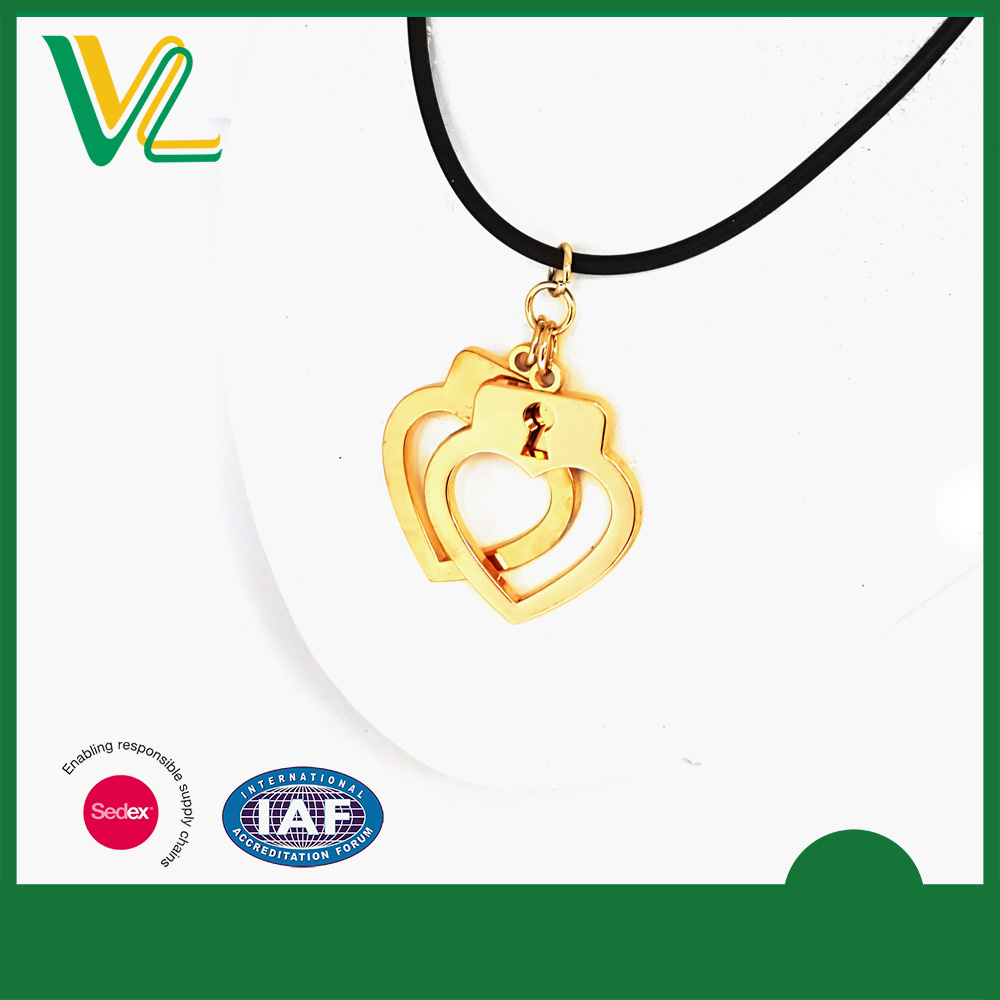 Tailor made high quality Die casting Gold Plated Heart Custom O Ring gold chain necklace for lady