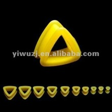 triangle double flare silicone ear plugs flesh tunnel body piercing jewelry, ear gauges, ear expander
