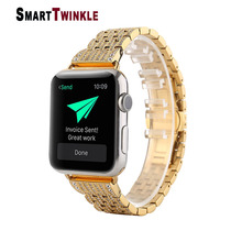Luxury Diamond Stainless Steel Link Bracelet Strap Replacement for Apple Watch Band