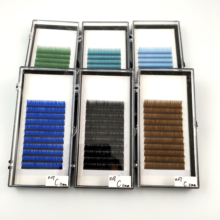 Private label High Quality Two Tone colorful Lshes individual  fade color  Eyelashes Extensions