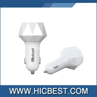 Hicebst Private Mold Diamond Car Charger 3 Port USB Car Battery Charger 12v 4.8a Output for Samsung