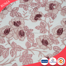 high quality embroidery lace curtain fabric
