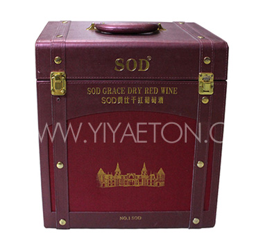 Foil Stamping and Metal Lock Leather Wine Carrier