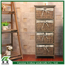 Wooden Storage Cabinet Tower Lined Wicker Baskets