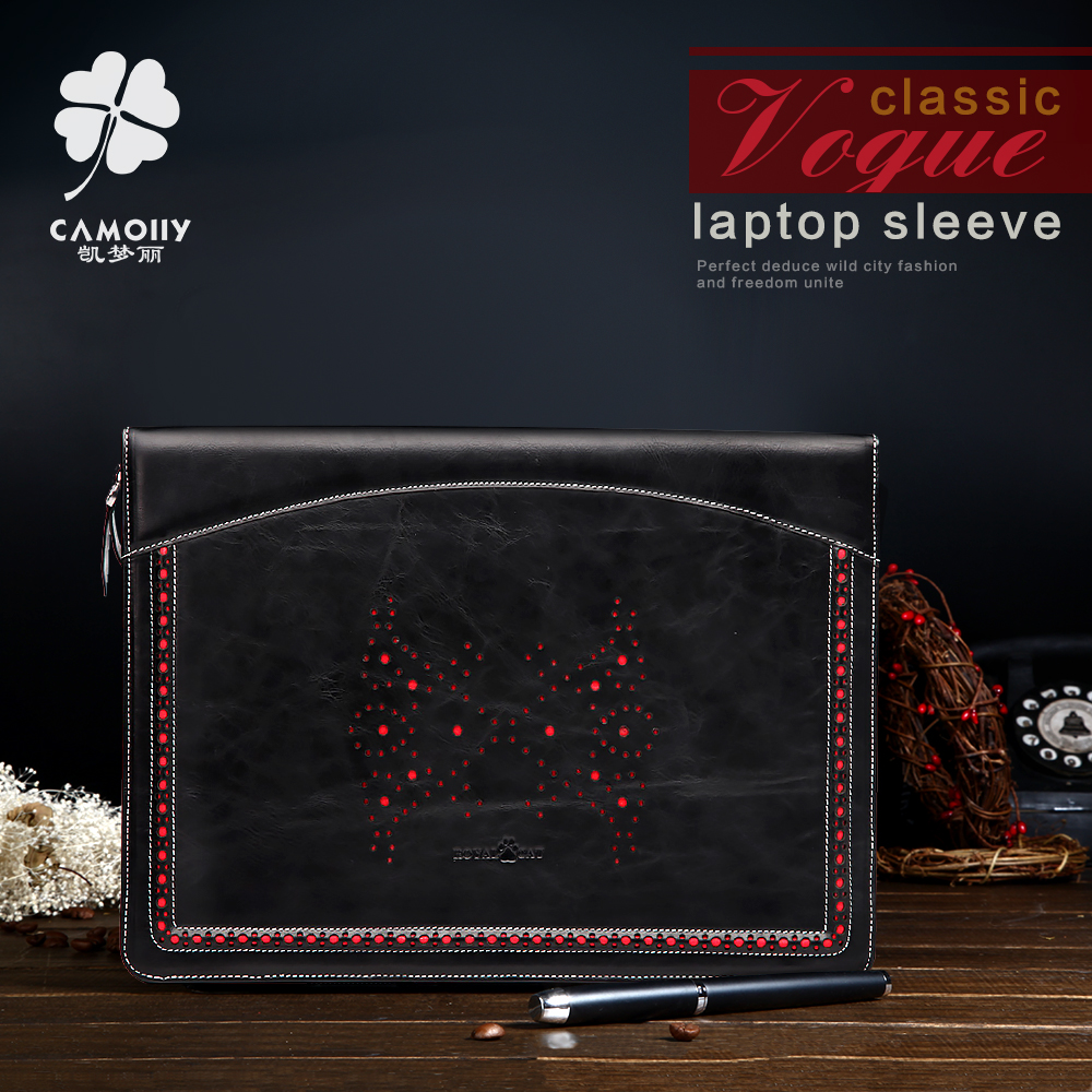 Guangzhou factory wholesale fashion design genuine leather laptop case sleeve bag for macbook air with zipper