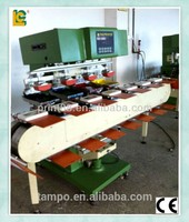 4 color Ink well Tray Tampo pad printing machine With Tank Conveyor SPM4-200-16TN for snack box and big box items