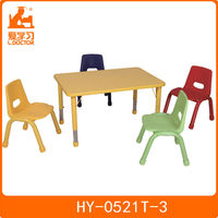 Red,yellow,bule,green school kids classroom desk and chair