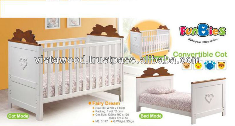Conevertible Cot,wooden cot bed , 4 in 1 baby bed