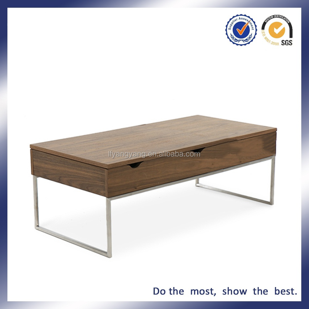 WOOD SQUARE STAINLESS LEG TEA TABLE VENEER COVER PAINT FASHION DESIGN COFFEE TABLE