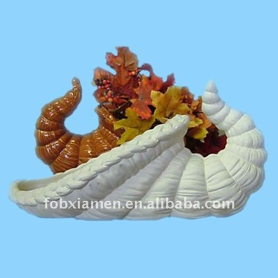 thanksgiving ceramic bisque cornucopia u-paint decoration
