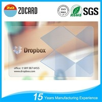 85.5*54*0.76mm Standard Size Transparent Plastic Business Cards