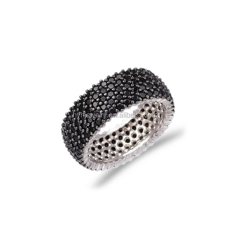 Top Selling High Quality Party Jewelry Micro Pave Black Zircon Ring For Women
