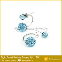 Stainless steel Crystal Clay Paved Stud Earrings