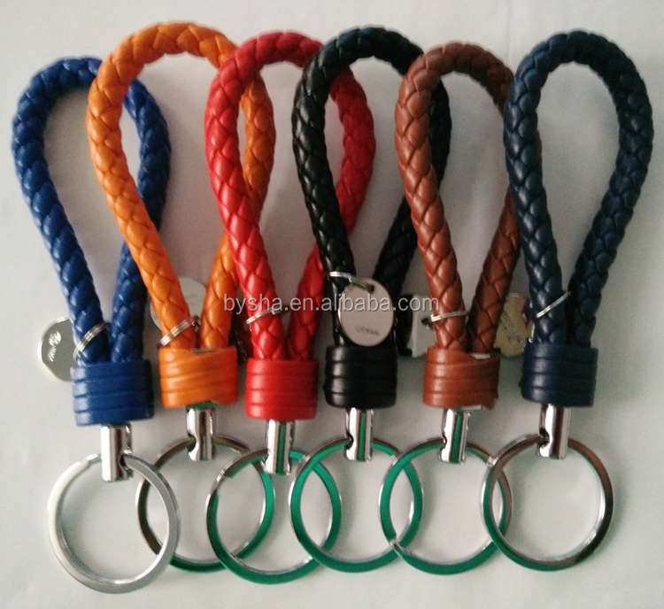 Wholesale Factory Multicolor Unique Design Handicraft Hand Leather Rope Strap Keychain