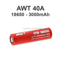 New products 2016 AWT 18650 3000mah battery 40A AWT 18650 rechargeable battery vanadium redox flow battery for asmodus minikin