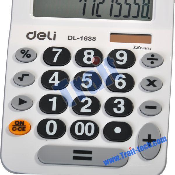 DL-1638 12 Digits Big Display Scientific Electronic Desktop Double Power Calculator