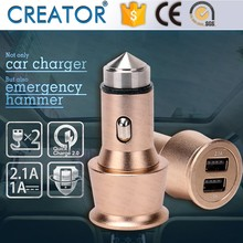 2.1/3.1A Aluminum alloy stainless steel car battery charger emergency hammer dual usb car charger