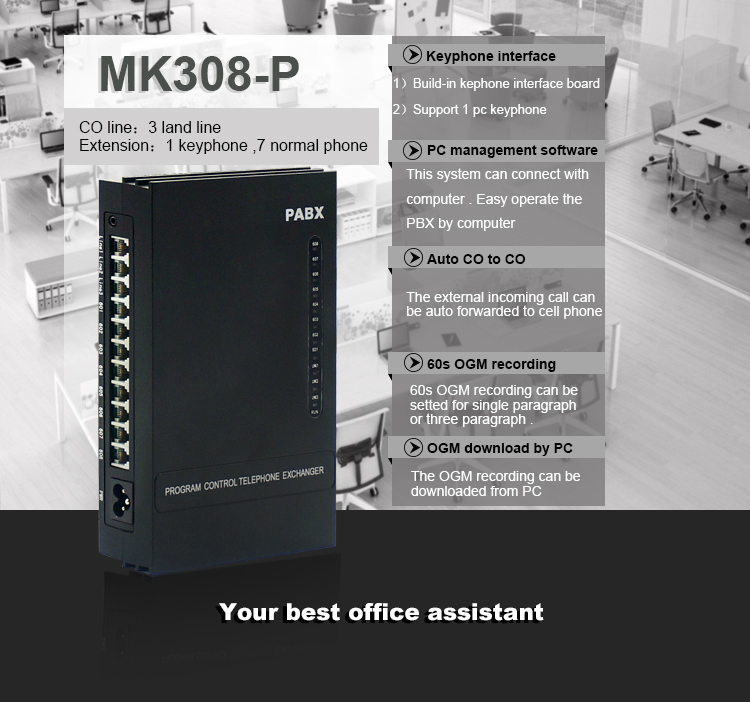 Central Mini PABX in PBX with keyphone and Billing software MK308