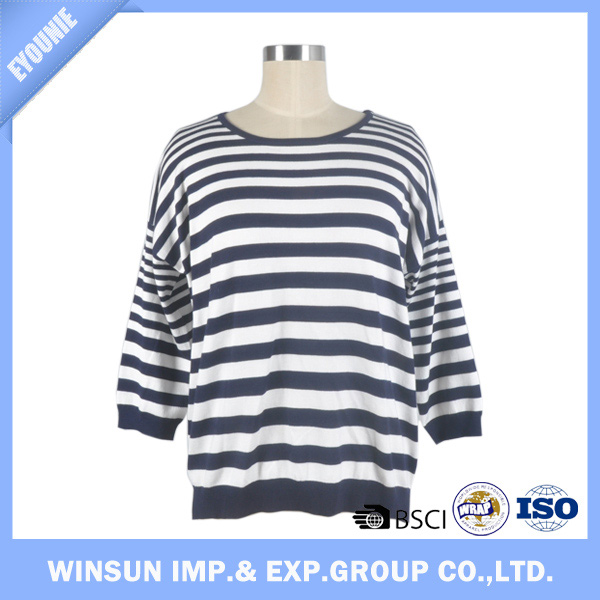 Spring Viscose/Nylon Navy and White Striped Pullover Christmas Women Sweater