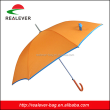 8K cheap orange fabric with blue line curve handle straight umbrella