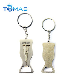 Promotional Items metal Dubai Tower logo souvenirs key chain with bottle opener