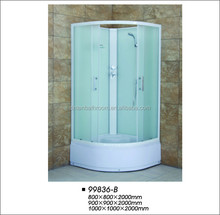 Corner Shower Room Tub With sliding door and glass shelf
