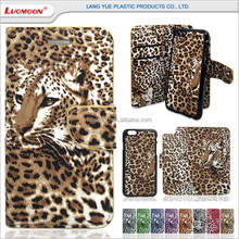 3D leopard print multifunction wallet detachable magnet leather case for iphone 4 4s 5 5s 5c 6 6s 7 7s plus se