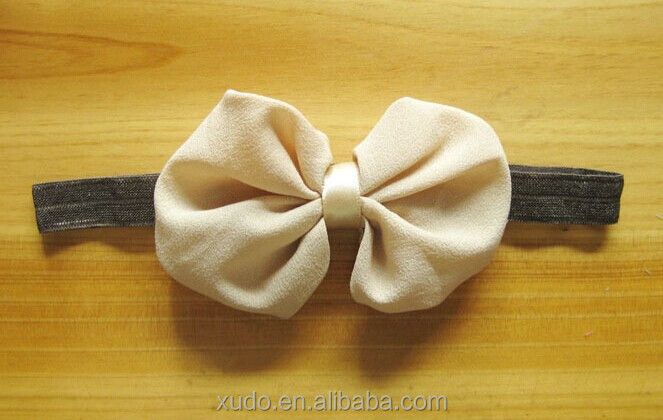 10 colors in stock children hair accessories 10cm chiffon bows headband for children