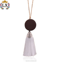 NLX-00305 elegant simple design daily wear tassel wood necklace pendant ethnic style gold chain