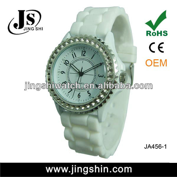 JA456 fashion alloy latest design silicone rubber wristband watch