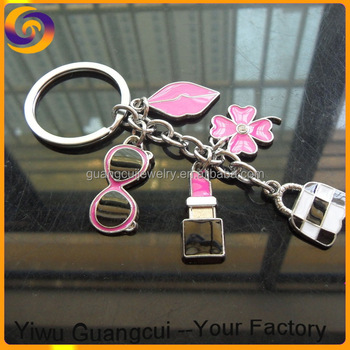 2017 Zinc alloy metal flower glasses bag Lipstick mouth logo keychain