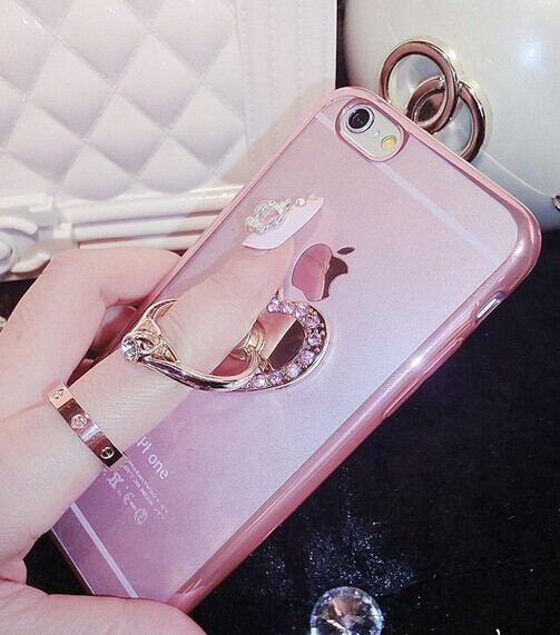 diamond ring stand phone case gold tpu for iphone 6 case
