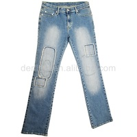 CJ-015-B1 2014 smart baggy with patch on the legs design women denim jeans