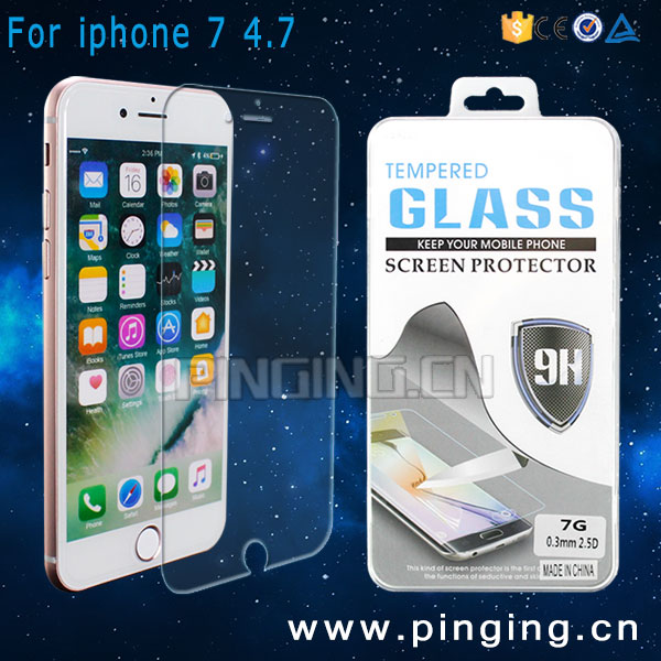 Wholesale Mobile Accessories 9H 2.5D Perfect Fit For iPhone 7 Tempered Glass Screen Protector