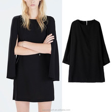 New Womens Elegant Fashion Cape Sleeve Straight Mini Dress Black NT14