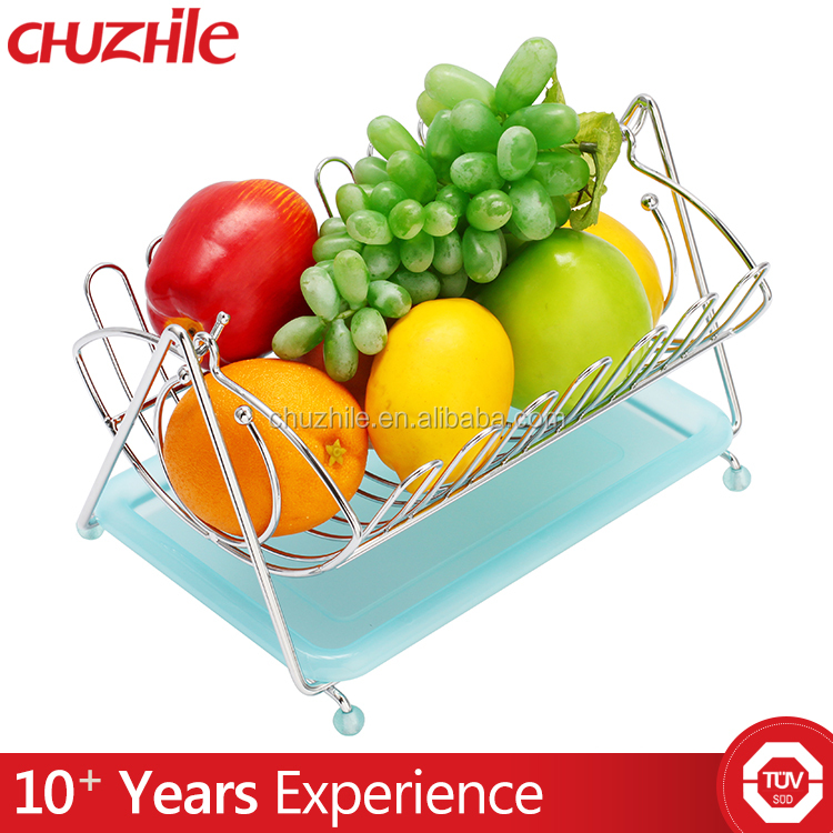 Good quality fruit vegetable display rack low price factory fruit rack basket with banana holder