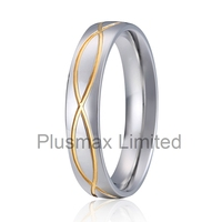 Very cheap wholesale prices two tone silver and gold color 316L stainless steel inaly 18k gold fashion ring finger rings for man