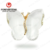 New-designed Jewellery Wholesale Butterfly Jewellery with White Quartz 9K Heavy Gold Jewellery Designs
