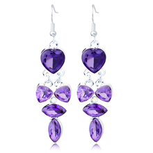 Wholesale Fashion Long Drop Earrings Crystal Heart Bowknot Diamante Pendant Earring Jewelries For Girls