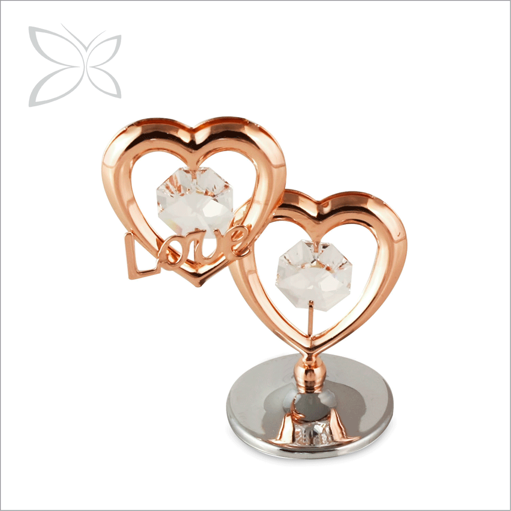Finest Wholesale Rose Gold Plated Crystals Double Heart Love Story Wedding Favors